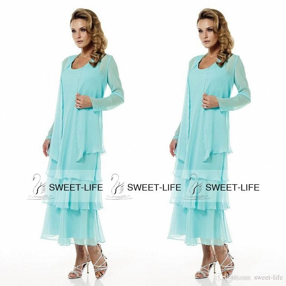 2015 Sky Blue Mother Of The Bride Dresses With Jacket Long Sleeve ...