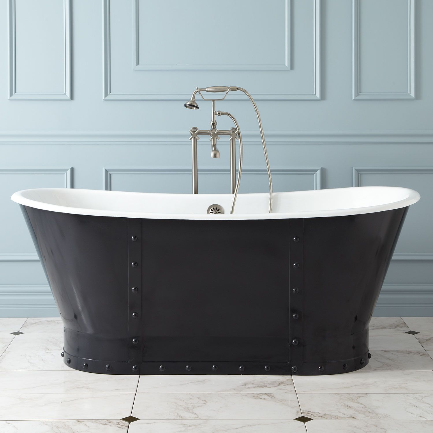 67 Brayden Cast Iron Bateau Tub With Riveted Skirt Cast Iron