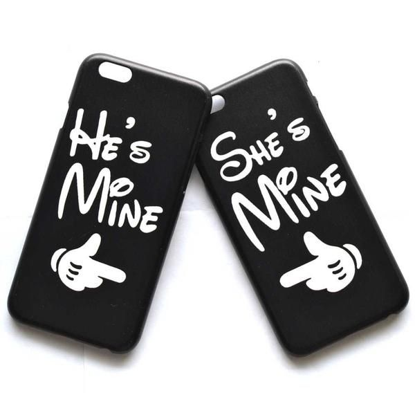 He's Mine She's Mine Matching Couples Protective Phone Case Cover ...