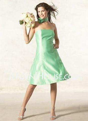 strapless a line satin kneelength bridesmaid dress