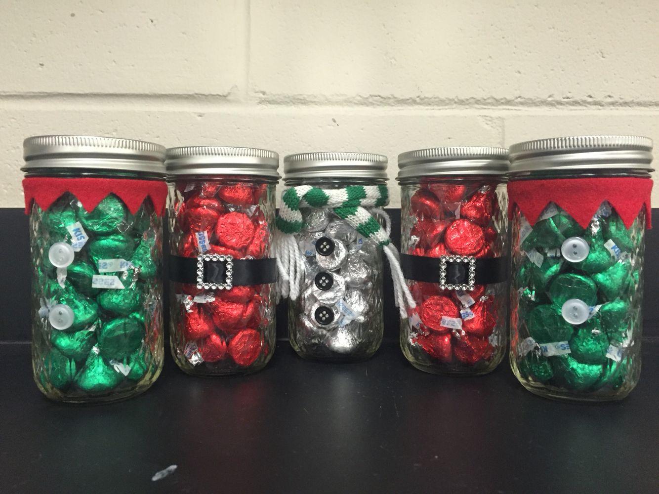 Hershey Kiss Mason Jars Santa Snowman And Elf Christmas Candy Jars Christmas Jars Homemade Xmas Gifts