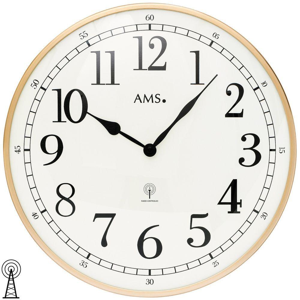 Ams 9566 Wanduhr Quarz Analog Metall Rund Uhren & Schmuck