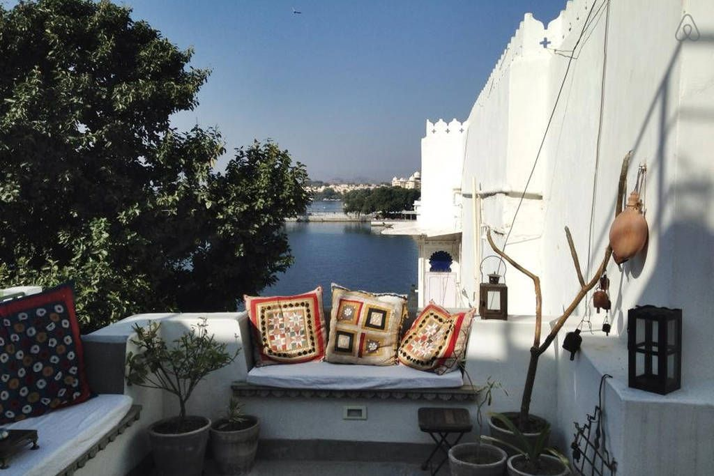 View to Lake Pichola from the super comfy roof terrace india