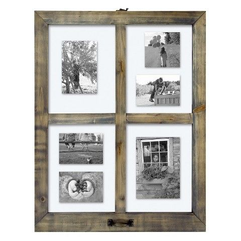 Target Wall Frames 4 opening windowpane collage frame weathered wood - threshold