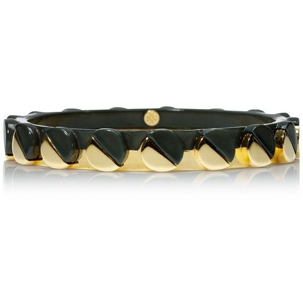 Tory Burch Connor Skinny Nailhead Bangle ($95) ❤ liked on Polyvore featuring jewelry, bracelets, gold tone jewelry, bracelets bangle, tory burch, hinged bracelet and studded jewelry