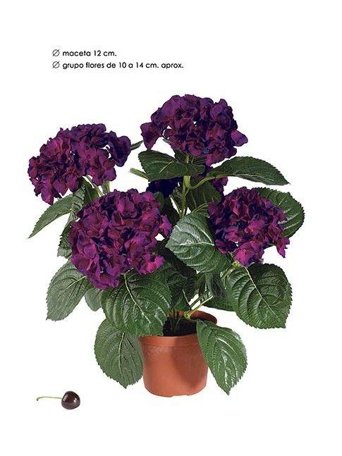 hortensia artificial en maceta color cereza cm