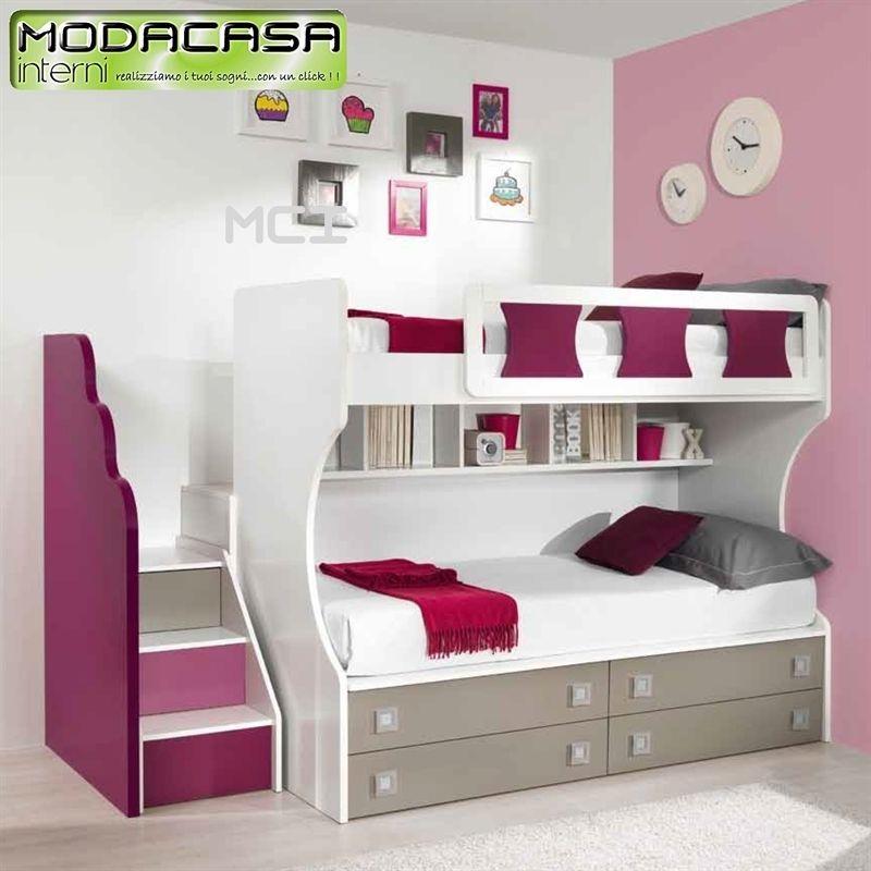 Composizione letto a castello con scaletta in legno e passerella om 1 mci01817 casa nuova for Cameretta con letto a castello