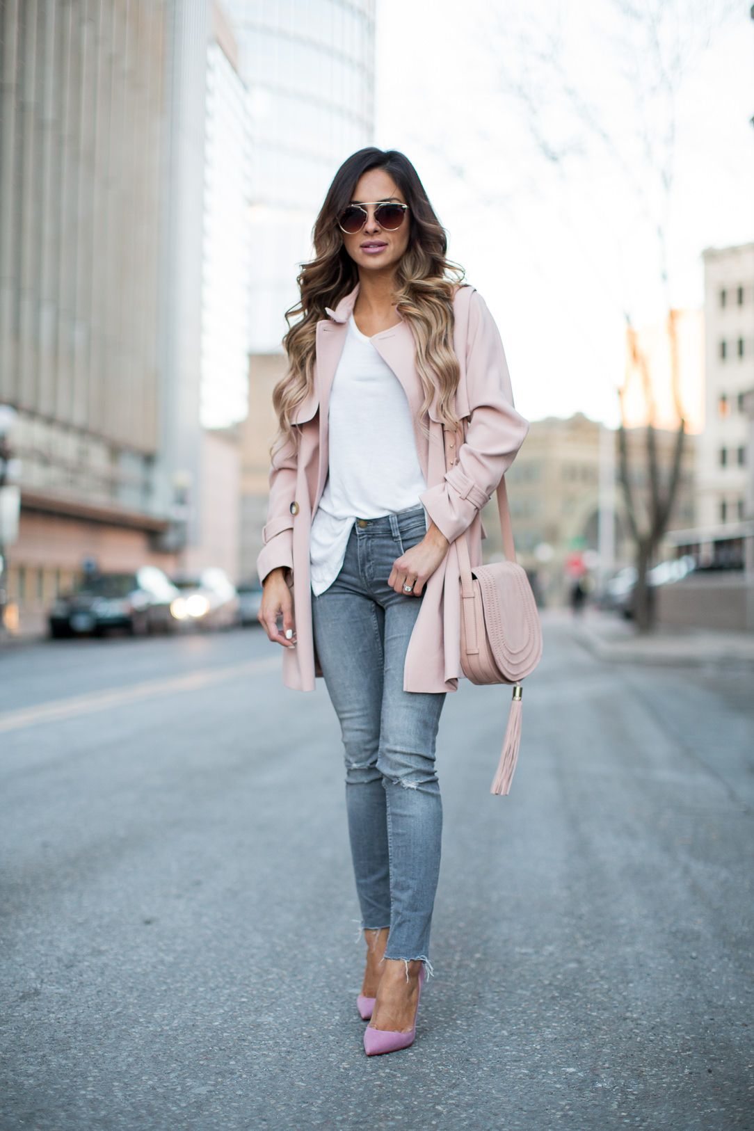Topshop Pink Trench Coat Zara Gray Jeans Similar Here