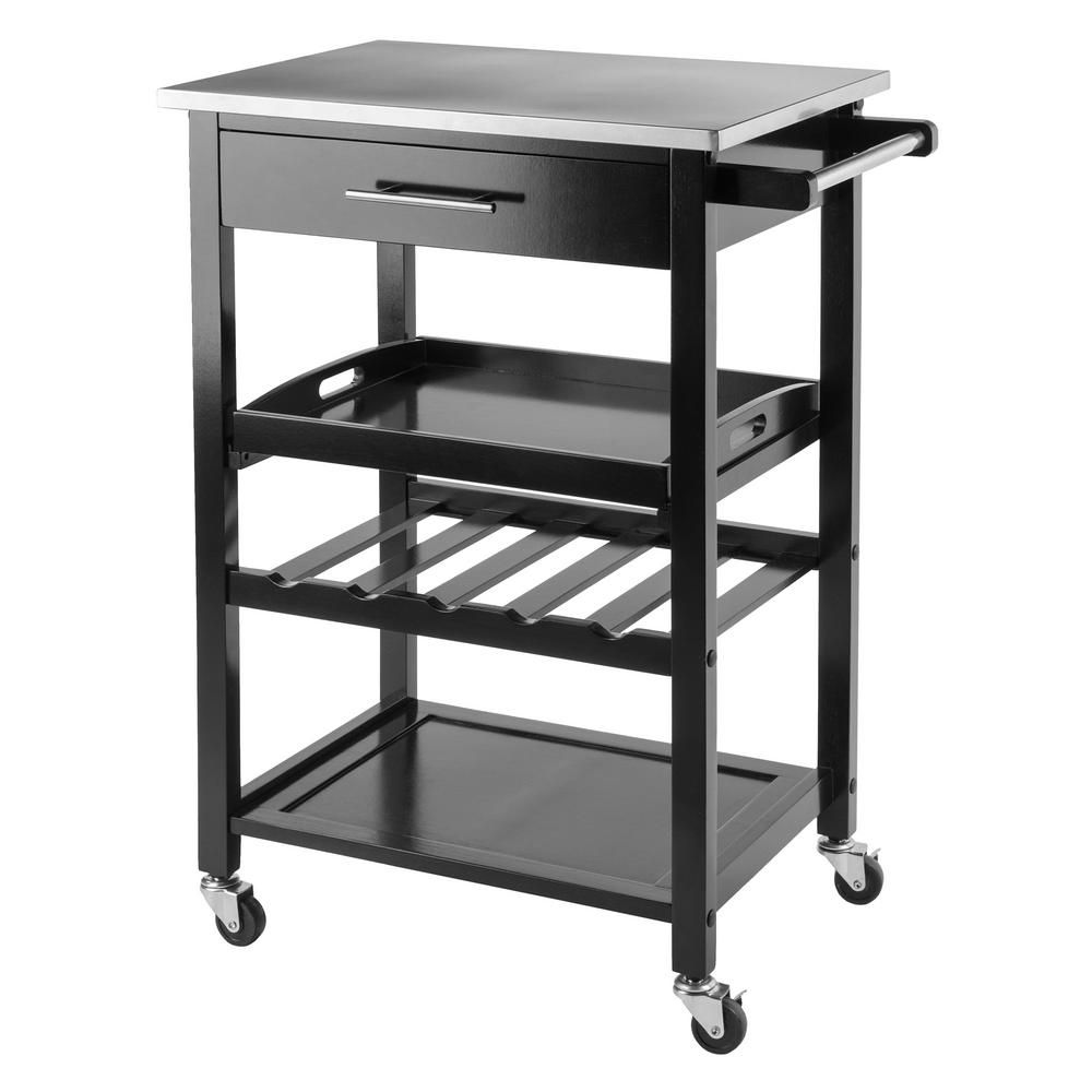 Winsome Wood Anthony Black Kitchen Cart With Stainless Top 20326