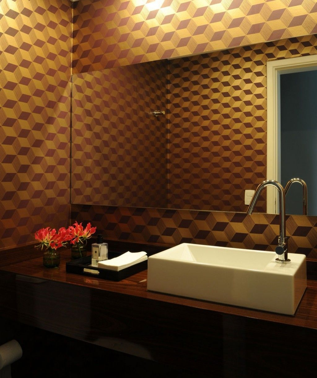 Cube pattern wall accent and laminate wooden floating vanity also frameless mirror design ideas contemporary sao paulo residence with gray interiors