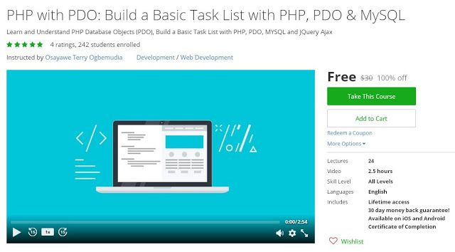 Coupon Udemy  Php With Pdo Build A Basic Task List With Php Pdo