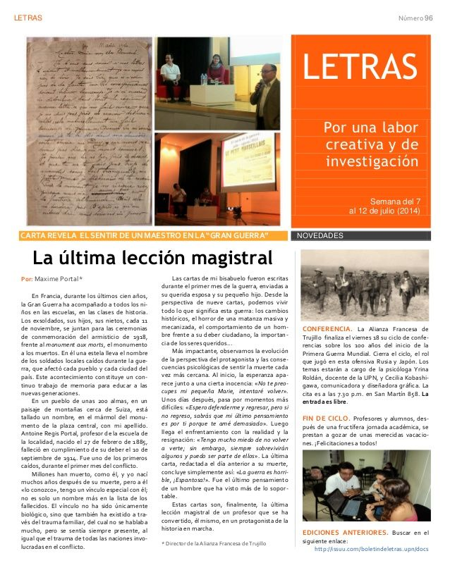 Boletín N° 96 (Dpto. de Humanidades) by HumanidadesUPNORTE via slideshare