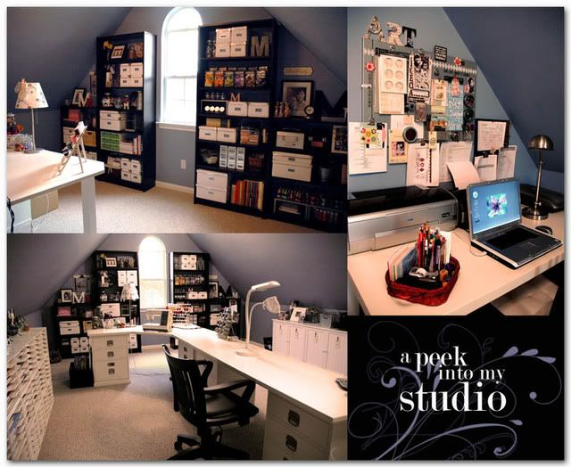 Love This Work Space Even Has A Sloped Ceiling Like Mine Small Attic Room Attic Rooms Attic Remodel