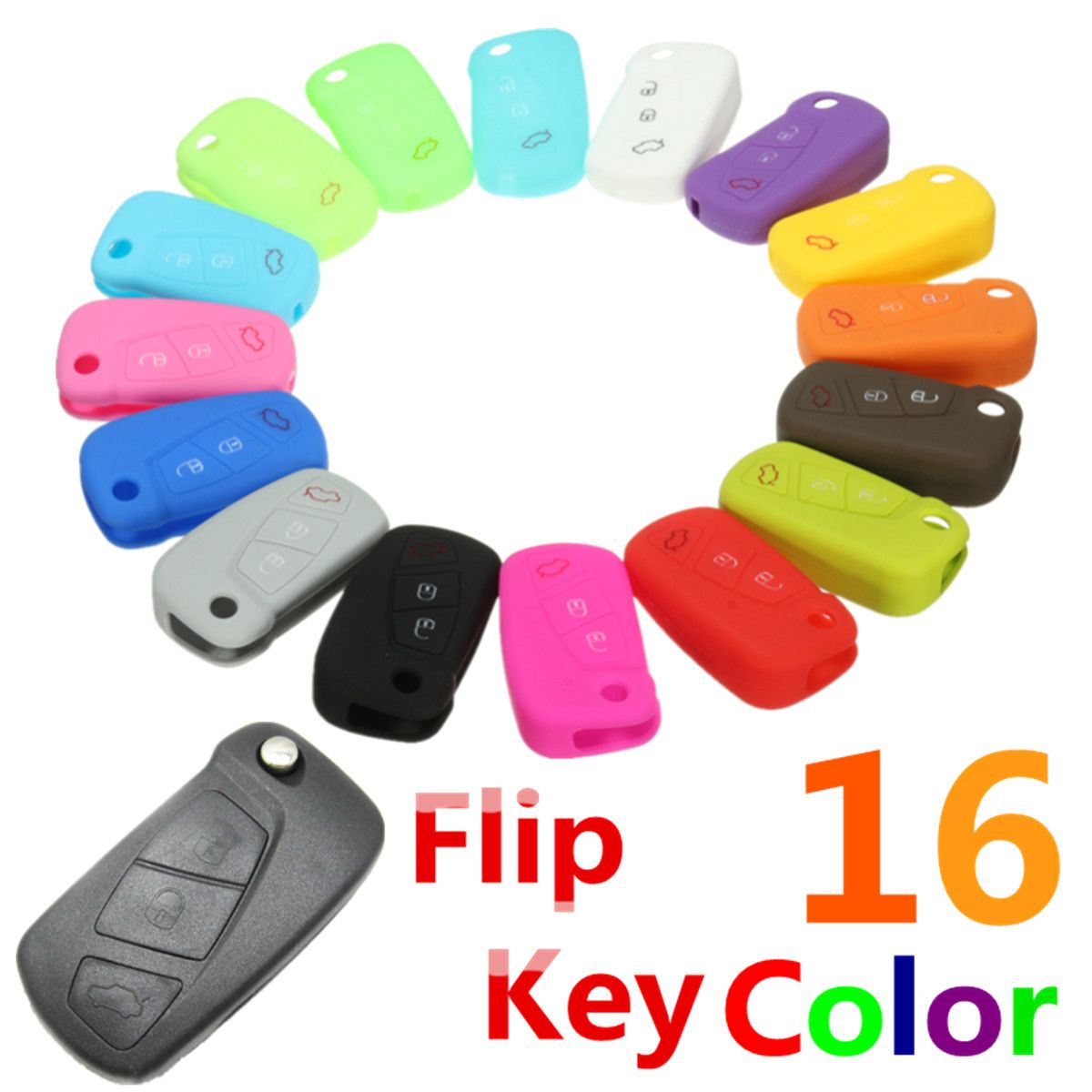 16 Color Silicone 3 Button Remote Flip Key Case Fob Cover Protect