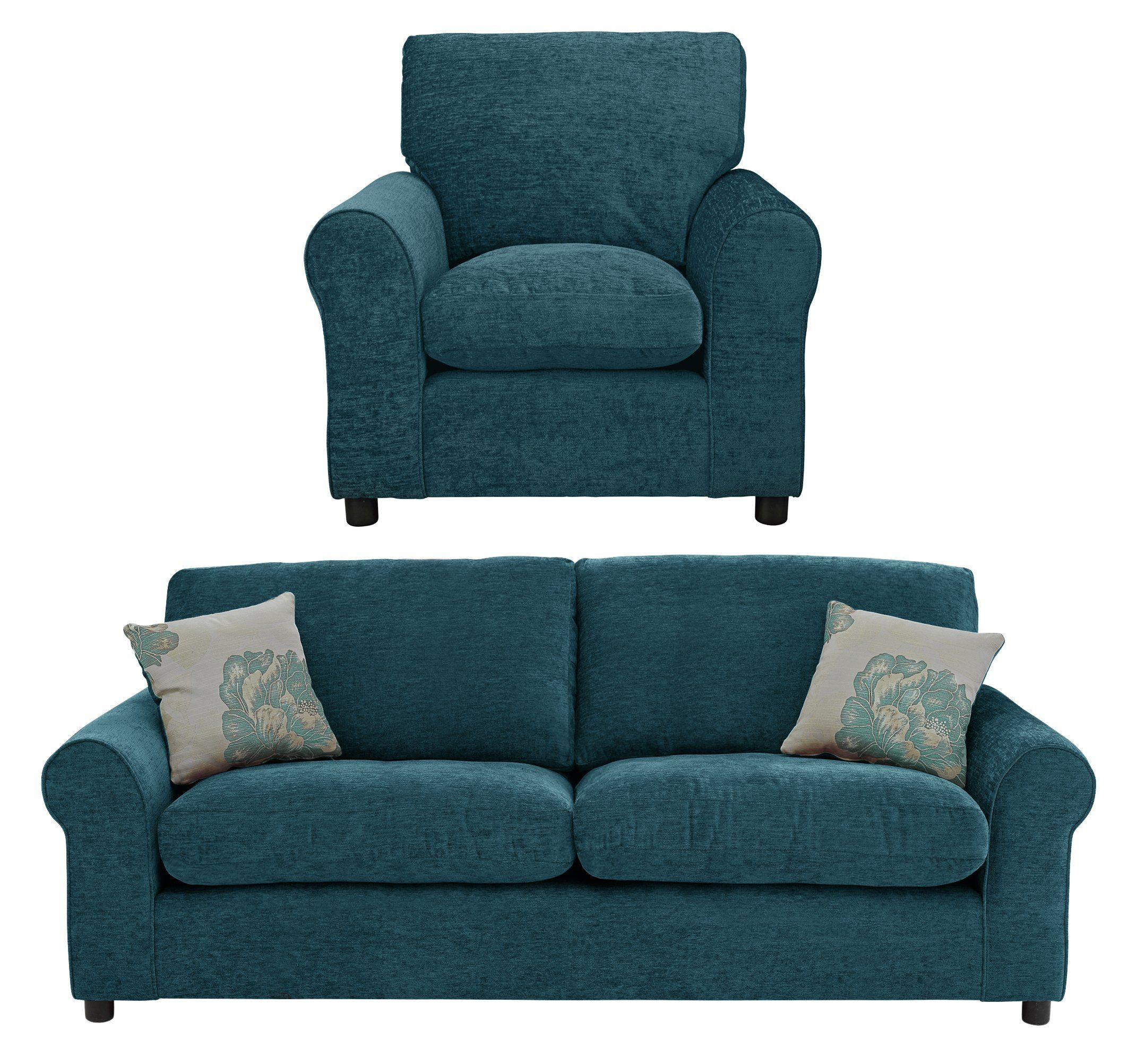 Buy HOME Tessa Fabric 3 Seater Sofa and Chair Teal at