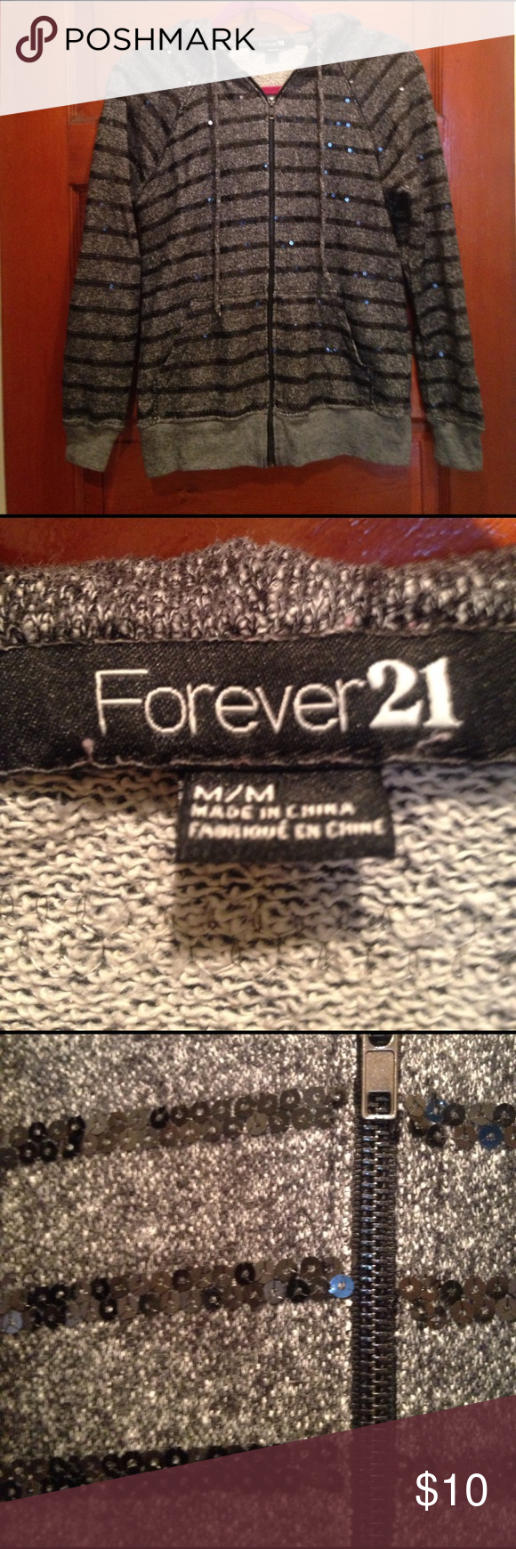 Forever 21 sequin striped hoodie Gray with black sequin stripes. In excellent condition free of tears or stains. Sequins are intact. Forever 21 Tops Sweatshirts & Hoodies