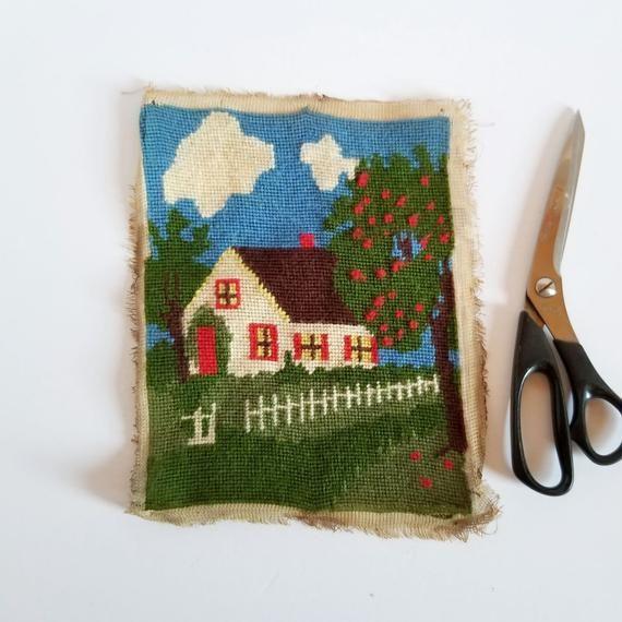 Country House Needlepoint Panel - Vintage Green Landscape w White Picket Fence & Apple Tree - DIY Em