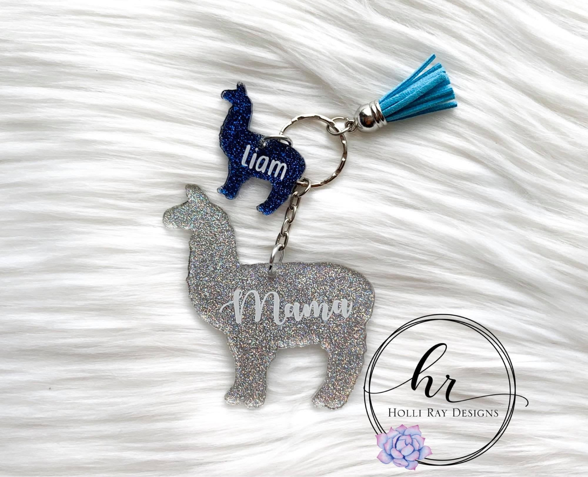 Llama mama and babies keychain