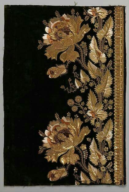 Embroidery Samples For A Man S Suit French 1800 1815 Gold Work Embroidery Embroidery Fabric Embroidery