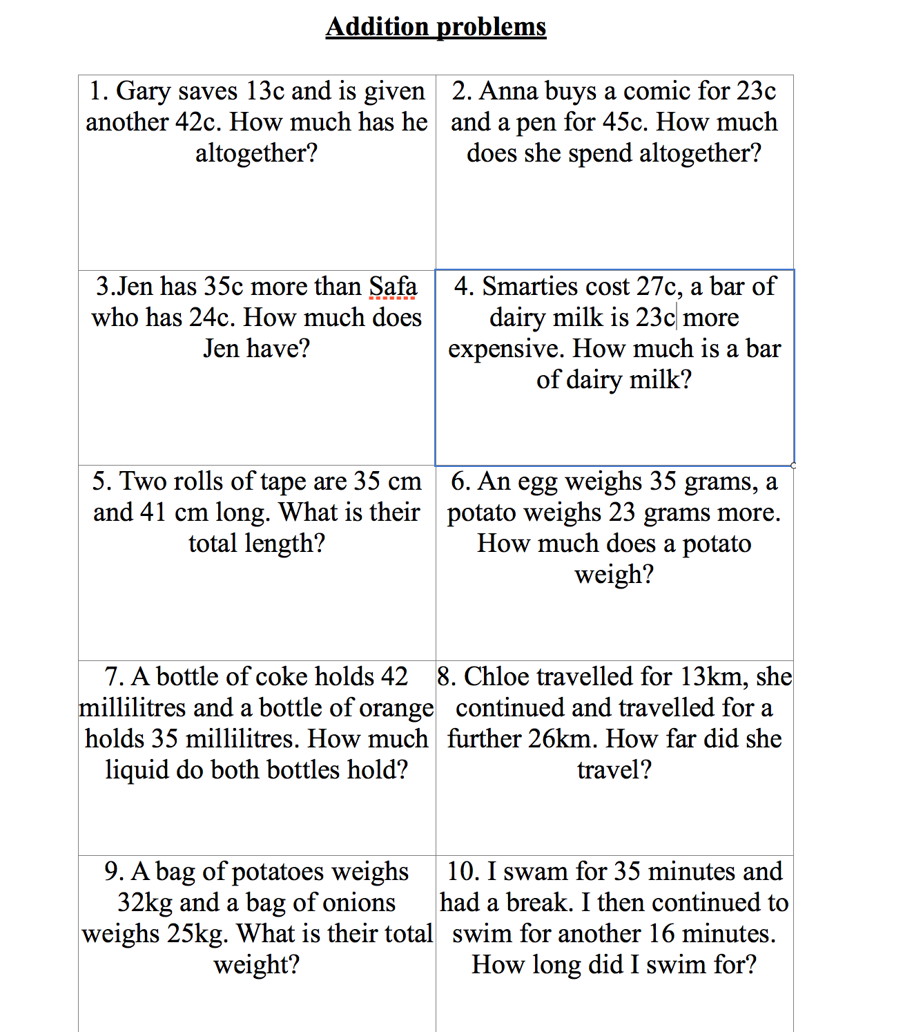 hight resolution of worksheet addition word problems year 3 wosenly free and subtraction problem  worksheets for grad…   Word problems