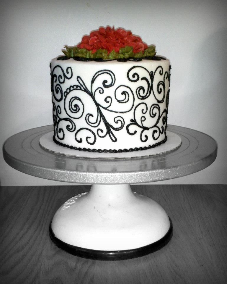 Black scroll cake | Cake, Creative cakes, Cake stand