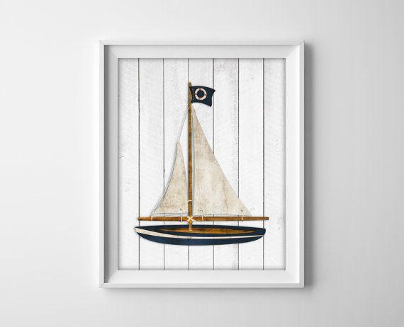 Nautical Sailboat Wood Art Prints   Rustic Nautical Decor   Boy Bedroom  Nursery Beach House Bathroom Decor   Sail Boat Sailing   SKU: 033