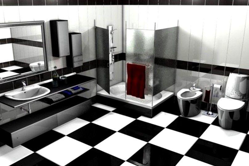 Black And White Bathroom Tile Designs  Black And White Bathroom Captivating Small Black And White Tile Bathroom Design Ideas