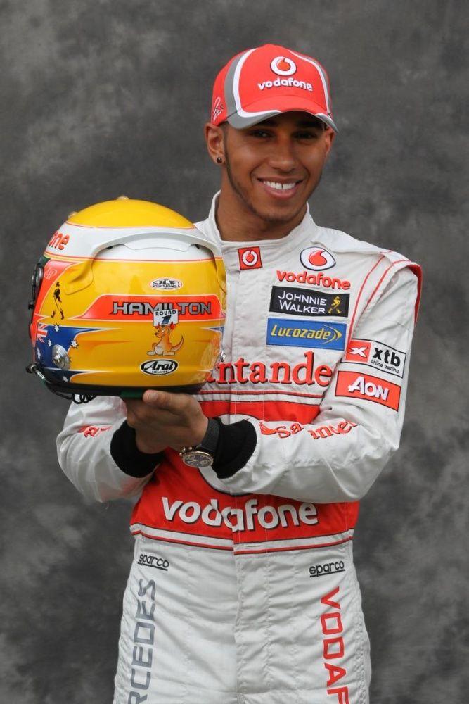lewis hamilton shows his new 2012 helmet design