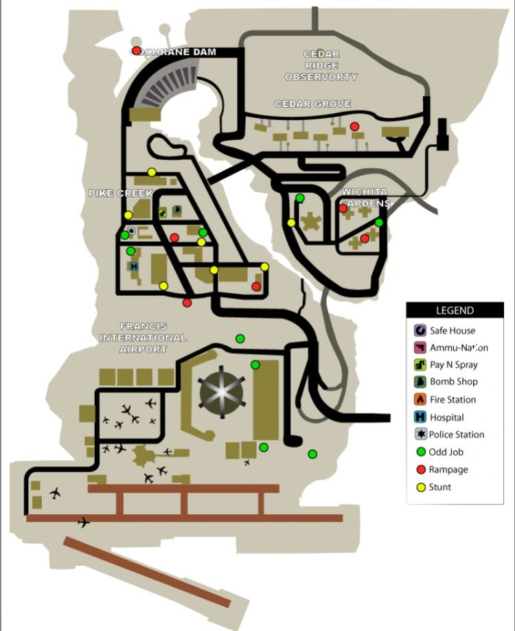 Shoreside Vale Region Of The Map Used In Both Gta 3 And Liberty City Stories