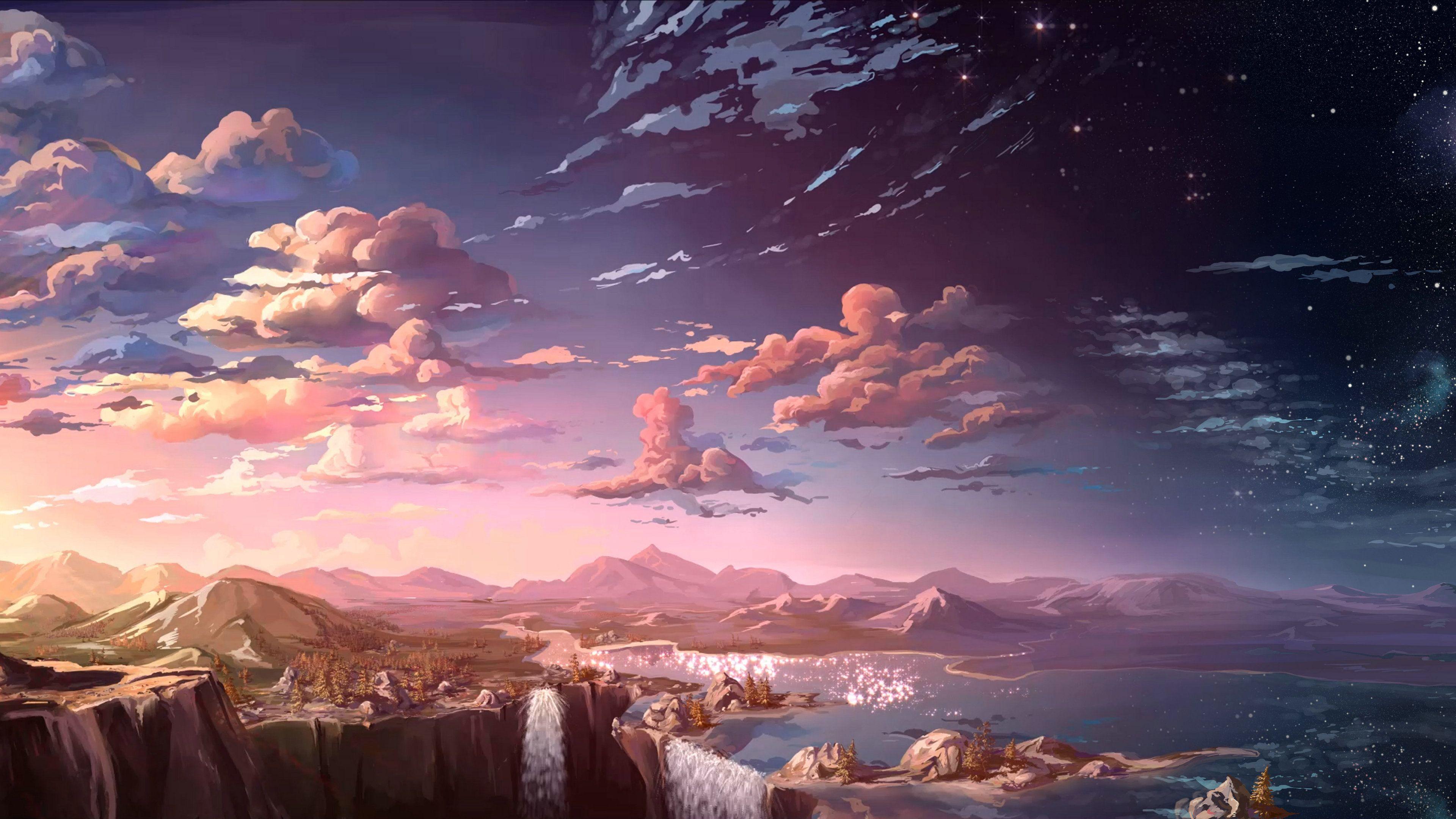 Wallpaper 4k Anime Landscape Waterfall Cloud 4k 4k Wallpapers Anime Wallpapers Artist Wallpapers Artwork Wallpapers Cloud Wallpapers Digital Art Wallpapers In 2020 Scenery Wallpaper Anime Scenery Landscape Wallpaper