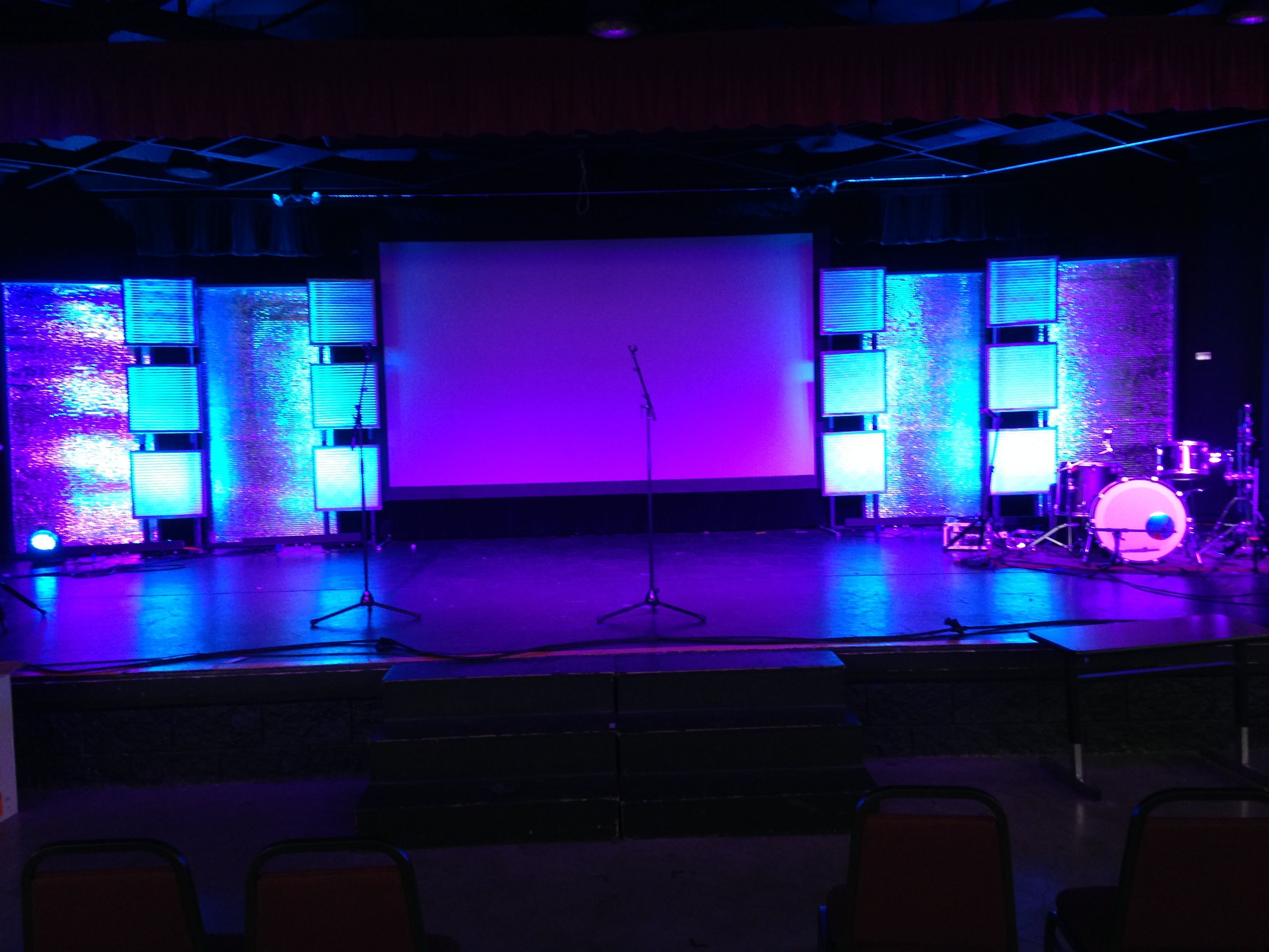 Church stage design out of framed air filters | Church Stage Set ...