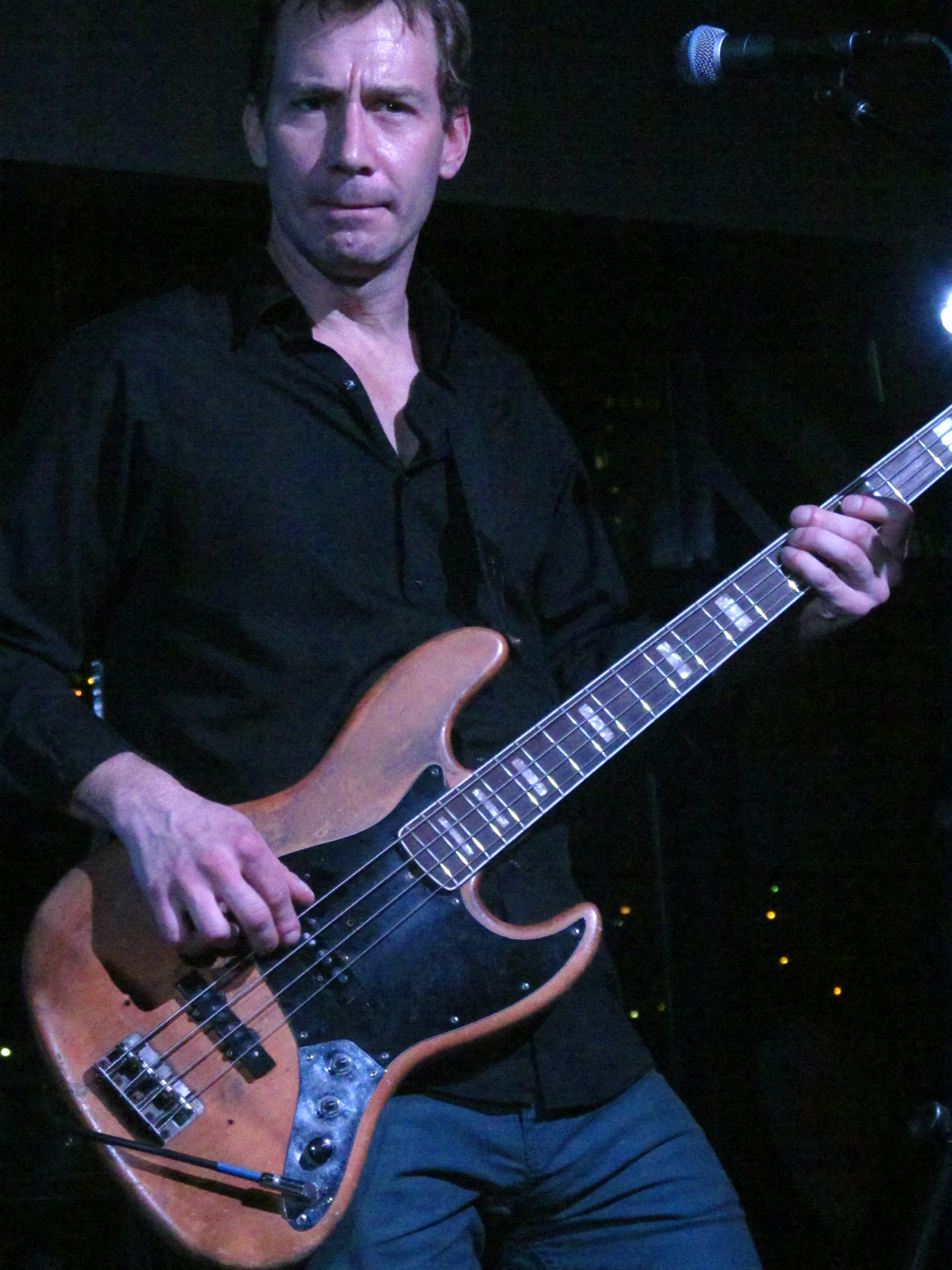 #HappyBirthday yesterday (oops!) to the one and only BZ, #NoSurfFriend Billy Zehnal of Angela Perley & the Howlin' Moons. Here he is layin' down that bass line at Music Box Supper Club, 11/29/14.