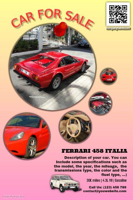 Car For Sale - Fully Editable Poster Http://Www.Postermywall.Com