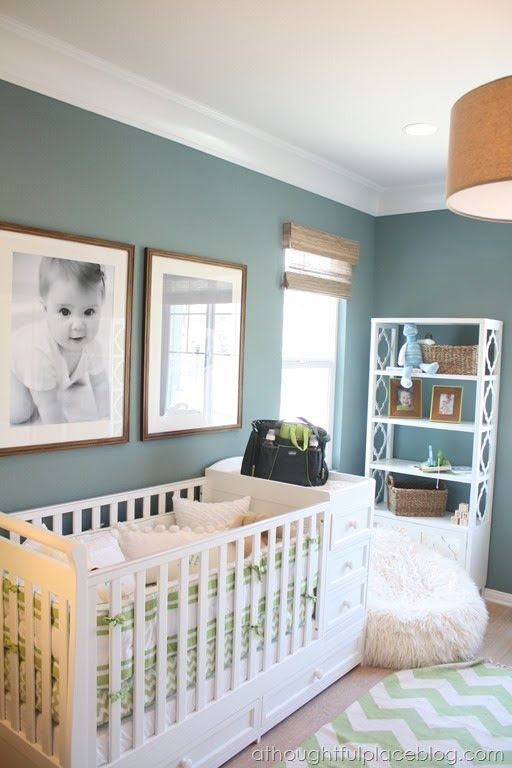Great color scheme - wall color, burlap lam shade, wood details, white  molding for baby nursery