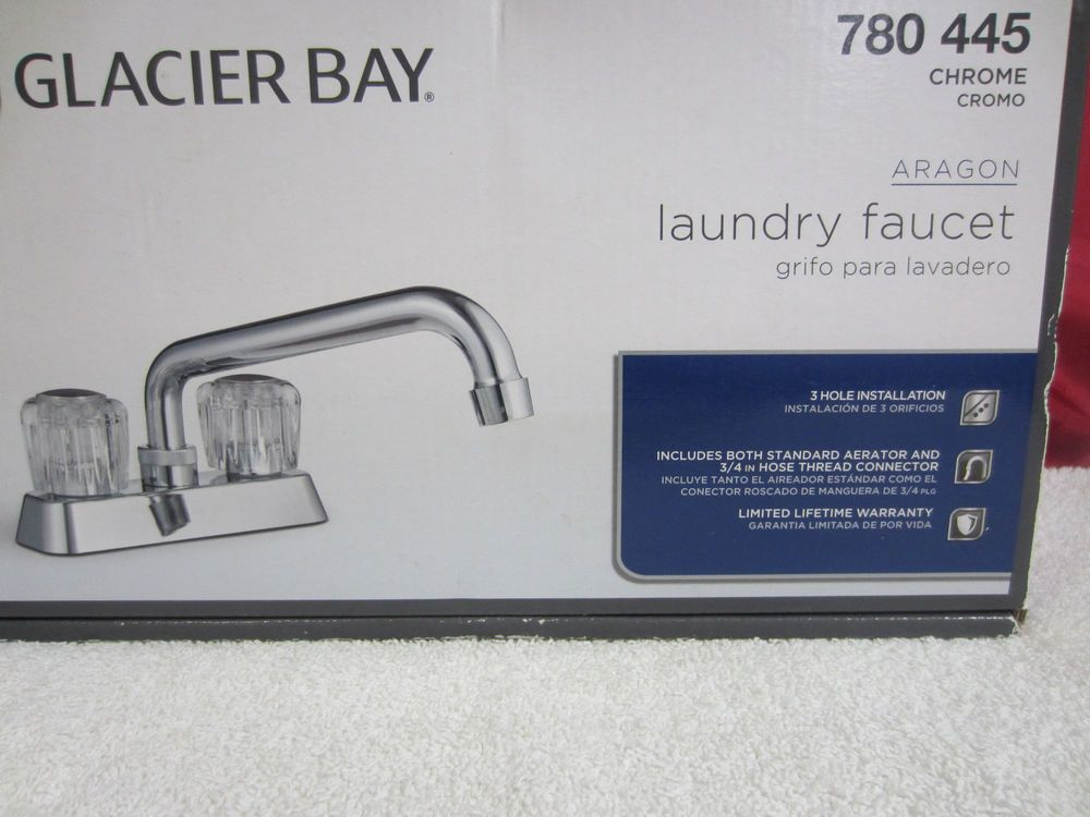 New Two Handle Laundry Faucet GLACIER BAY Aragon 780-445 Chrome ...