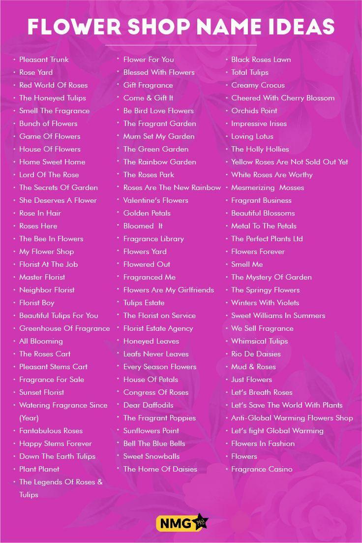 Flower Shop Name Ideas Flower Shop Name Generator Flower Generator Ideas Shop Flower Shop Names Shop Name Ideas Flower Shop