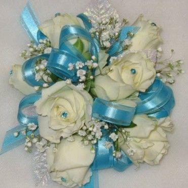Prom Corsage Light Aqua Turquoise Aqua Corsages In