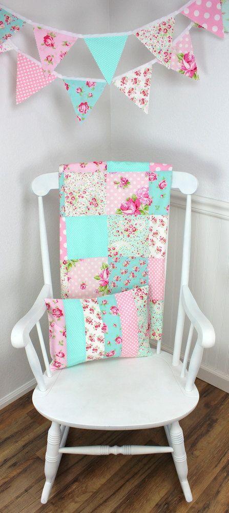 Baby Blanket Patchwork Nursery Pink Mint Aqua Blue Shabby Chic Decor Roses Flowers Dots