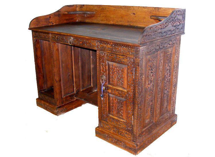 details zu sekret r schreibtisch kassentisch rezeption tisch desk einlegearbeit intarsien. Black Bedroom Furniture Sets. Home Design Ideas