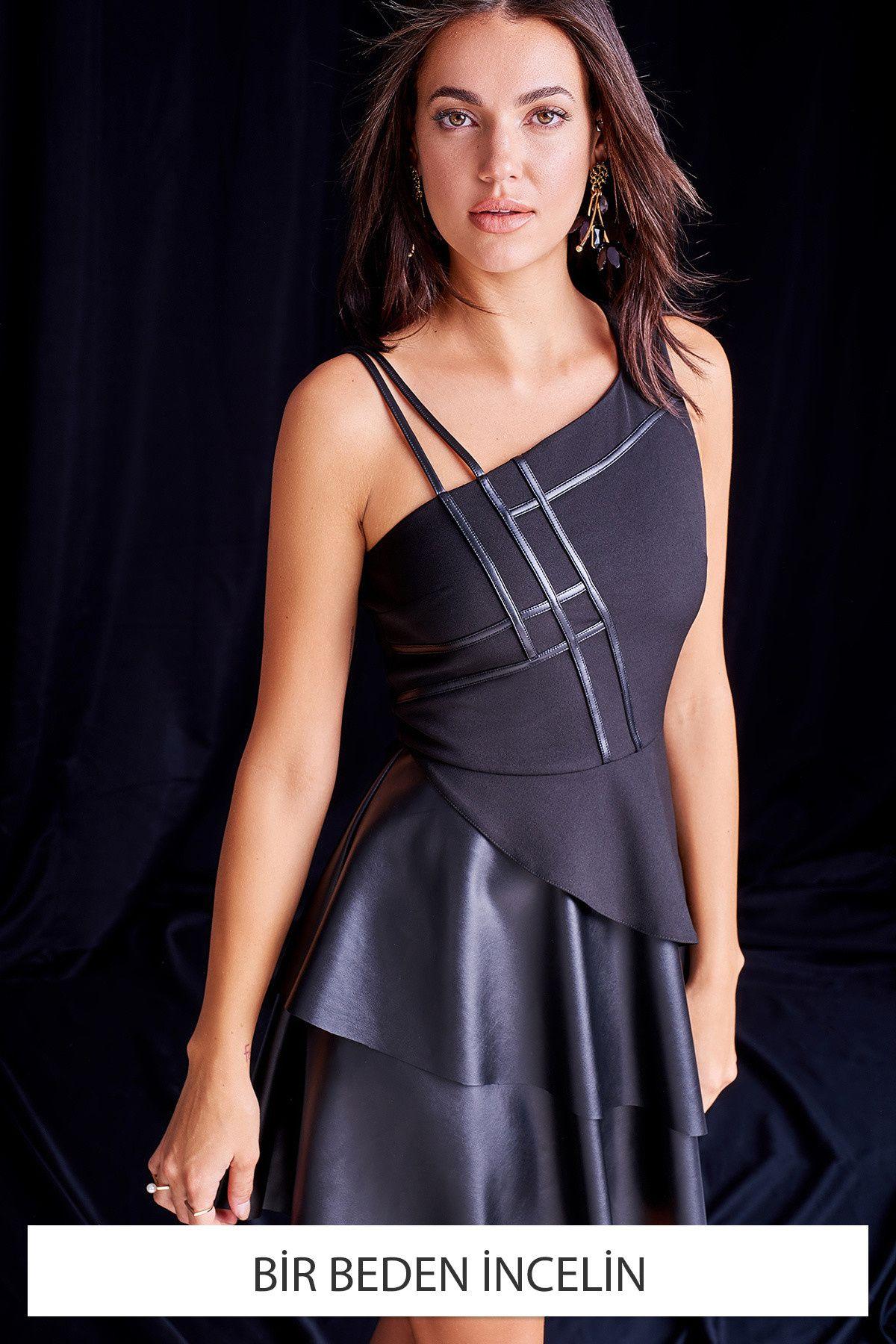 Siyah Deri Biye Detayli Bir Beden Incelin Elbise Trendyolmilla Trendyol Elbise Moda Stilleri Sifon Elbise