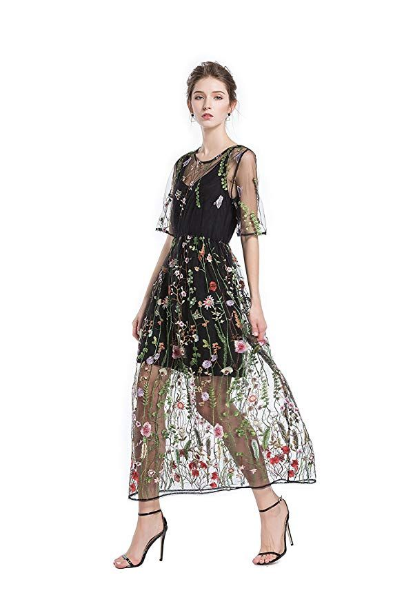 01c378fcc8f BaronHong Womens Floral Embroidered Tulle Prom Maxi Dress With Cami Dress 3 4  Sleeves
