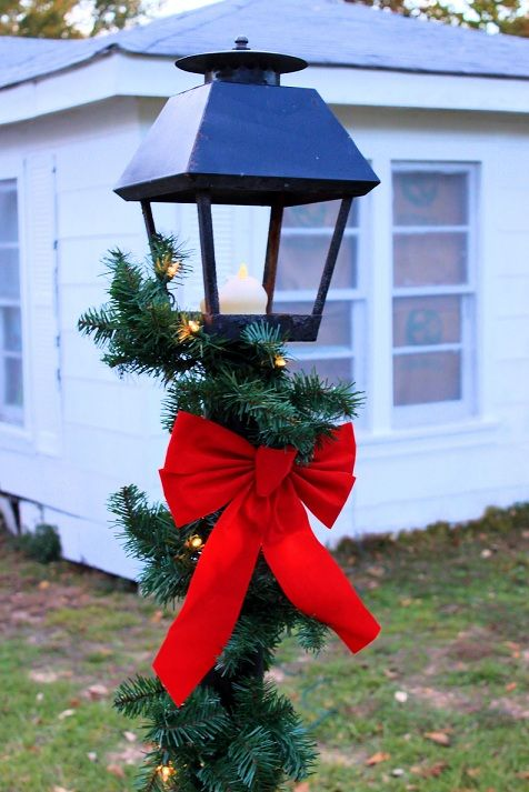 Christmas Light Post: Prelit Garland +Red Bow= Tight Budget Sucess ...