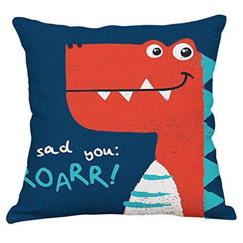 Yeeju Dinosaur Cotton Linen Throw Pillow Covers Decorative Square Cushion Cover Cartoon Sofa Home Pillow Cases 16x16 I Baby Prints Dinosaur Animal Illustration