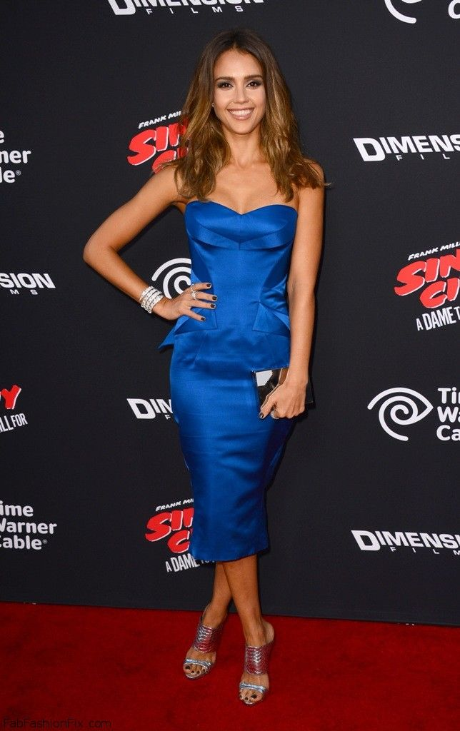 "Jessica Alba in Zac Posen blue dress at ""Sin City: A Dame To Kill For"" Premiere in Hollywood.  #jessicaalba #zacposen"