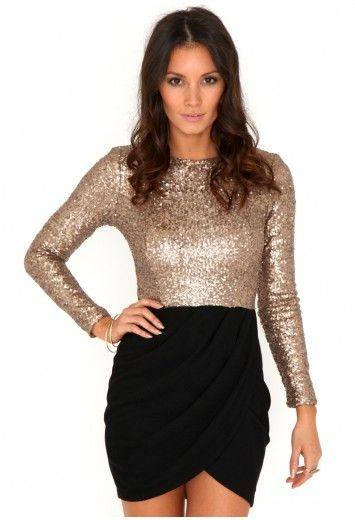 e7930cce49b Missguided - Kavita Cross Over Long Sleeve Sequin Dress In Black ...
