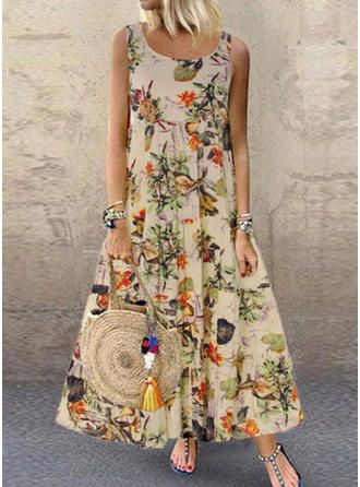 White - A, 4XL S-5XL Women Boho Dress Plus Size Casual V Neck Splicing Layered Irregular Hem Maxi Dresses Vintage Floral Printed Loose Sleeveless Chiffon Dress