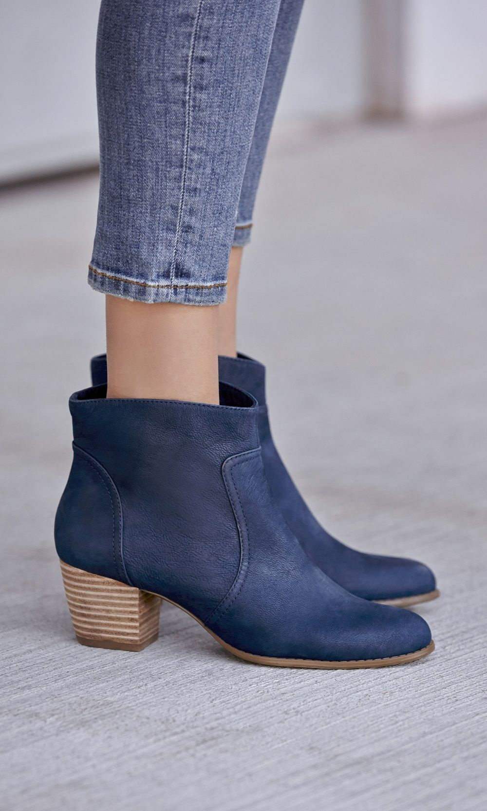 Navy stacked heel ankle bootie -- goes