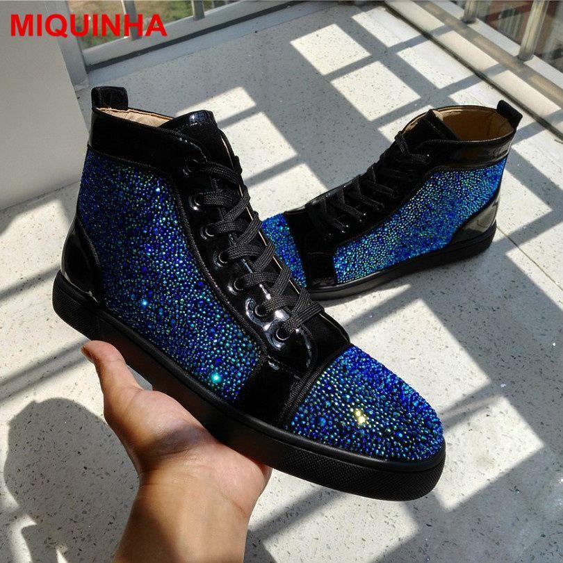 2017 New Designer Superstar Men Shoes Sapato Masculino Zapatos Hombre  Unisex High Top Rhinestones Crystal Casual