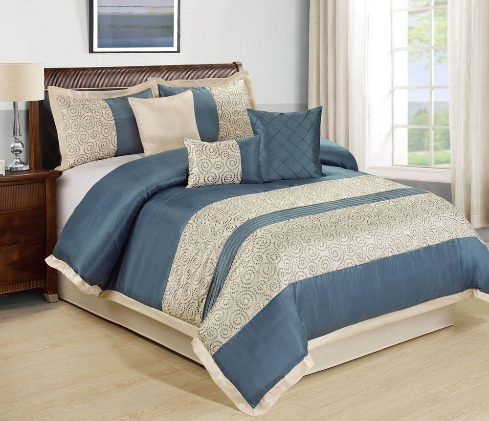 11 Piece Queen Liverpool Blue Beige Bed In A Bag Set Comforter Sets Beige Comforter Queen Comforter Sets