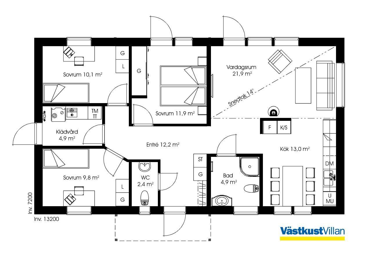 Schwedenhaus eingeschossig skandihaus 95 grundriss for Moderne bungalows grundrisse